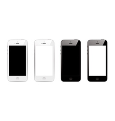 black and white smart phones vector image vector image