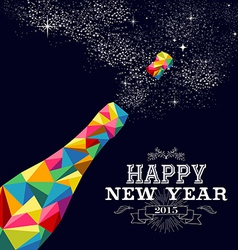 New year 2015 champagne bottle poster design vector image