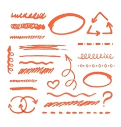 Red Marker strokes set vector image vector image