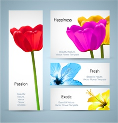 Tulip and Hibiscus floral design vector image vector image