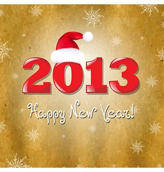Vintage new years card with red santa hat vector