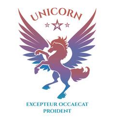 colorful unicorn silhouette logo design vector image