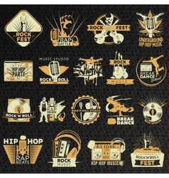Hiphop Rock Emblem Set vector image vector image