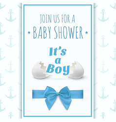 Its a boy Template for baby shower celebration vector image