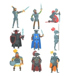 Knights In Full Armor Set Of Flat vector image vector image