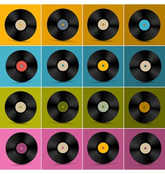 Retro Vintage Vinyl Record Disc Set on Colorful vector image vector image