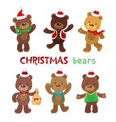 set of cute christmas bears vector image