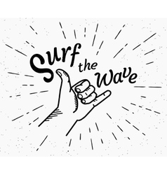 Surf the wave retro black and white vector image vector image