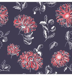 floral sketchy seamless pattern vector image