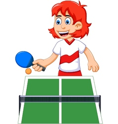 Funny girl cartoon playing table tennis vector