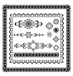 set of graphic frames and design elements vector image