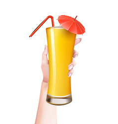 woman hand summer realistic cocktail glass vector image