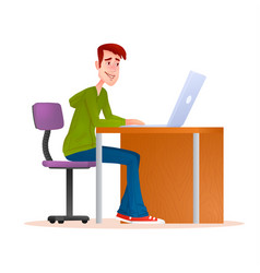 young man working on computer smiling teenager vector image