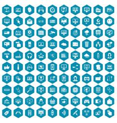 100 internet icons sapphirine violet vector image