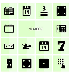 14 number icons vector