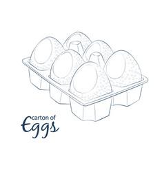 6 chicken eggs in carton icon cartoon food vector image