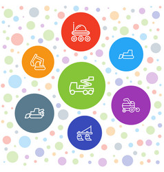 7 tractor icons vector