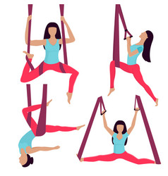 a young girl performs yoga exercises in a hammock vector image