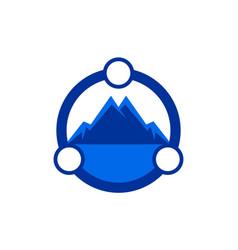 Abstract mountain logo icon blue concept vector