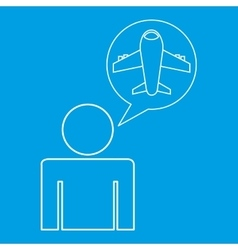 Airport locate destination icon silhouette man vector