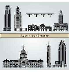 Austin landmarks and monuments vector
