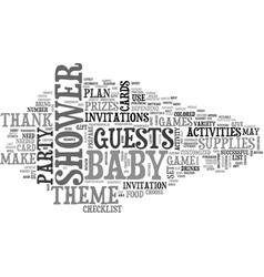 Baby shower supplies text word cloud concept vector