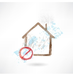 Ban house grunge icon vector