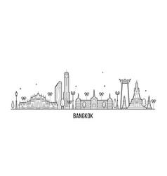 bangkok skyline thailand city linear style vector image