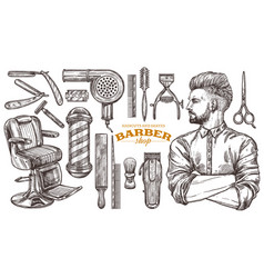 Barbeshop tools and vintage accessories vector