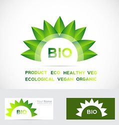 Bio organic flower leafs logo set vector