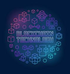 blockchain technology colored line circular vector image