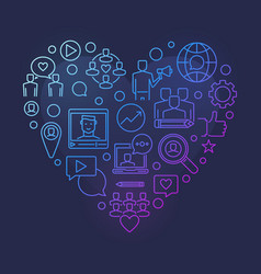 Blog or blogging colorful linear heart vector