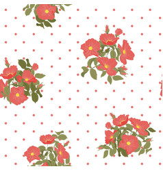 blooming wild flowers seamless pattern with polka vector image