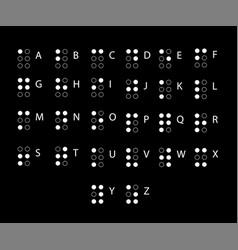 braille alphabet in latin alphabet for blind vector image