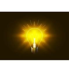 Bright lighting bulb with golden light in the dark vector