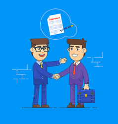 Businessmen shake hands and signing contract vector