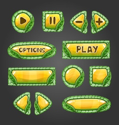 Cartoon yellow buttons with leaves vector