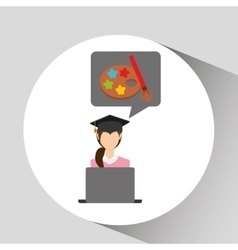 Character graduation paint brush online education vector