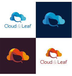 cloud and leaf vector image