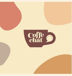 Coffee chat emblem logo cup handle speech bubble vector