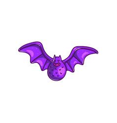 colorful purple cartoon bat vector image