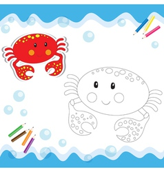 Coloring book crab vector