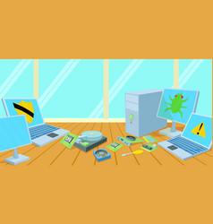 Computers repair horizontal banner cartoon style vector