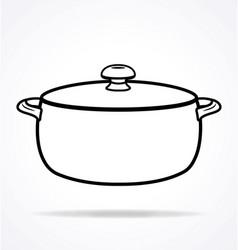 Crock pot roast cooker with lid outline vector