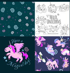 cute unicorn seamless pattern magic pegasus vector image