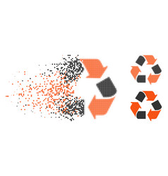 Destructed pixelated halftone recycle icon vector