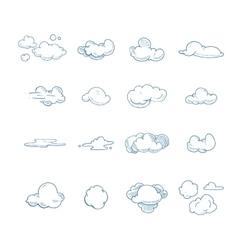 doodle big set hand drawn clouds vector image
