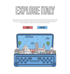 Explore italy poster with open suitcase vector