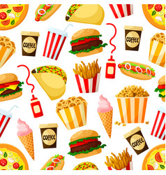 Fast food restaurant lunch seamless pattern design vector