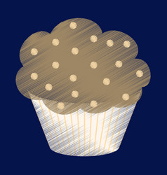 Flat shading style icon muffin vector